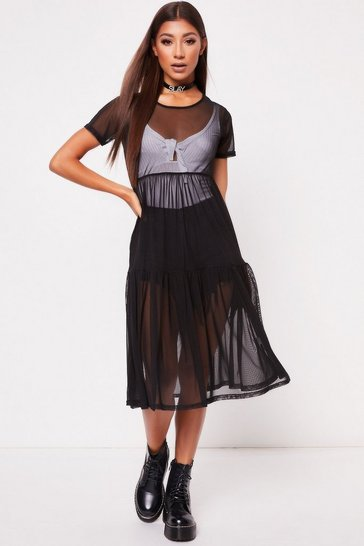 Womens Black Mesh Dress