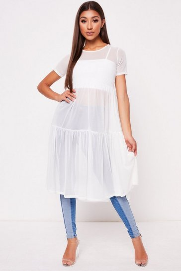 Womens White Mesh Dress