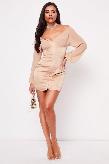 Womens Champagne Plunge Hook & Eye Dress