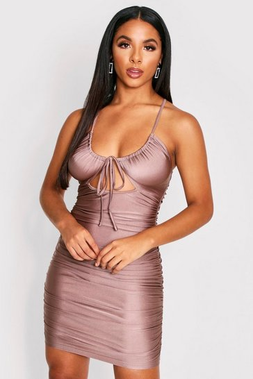 Taupe Ruched Cut Out Cross Back Dress