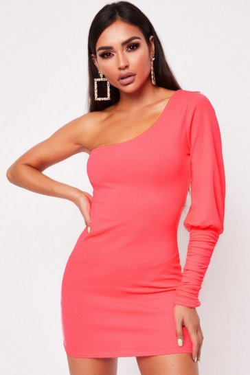 Womens Neon  One Shoulder Ruched Side Dress