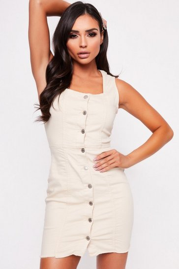 Beige Button Frayed Denim Dress
