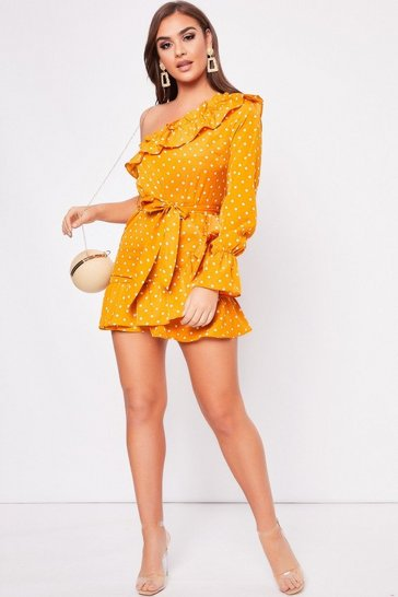 Womens Mustard Polka Dot Frill Detail Dress