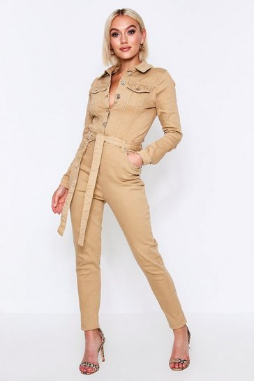 Womens Camel Button Up Jumpsuit
