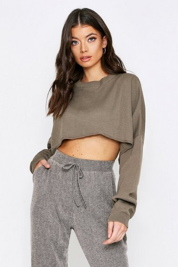 Khaki Boxy Crop Knitted Jumper