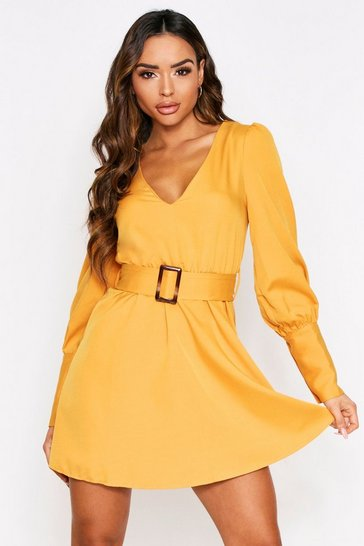 Womens Yellow V Front belted Skater Dress