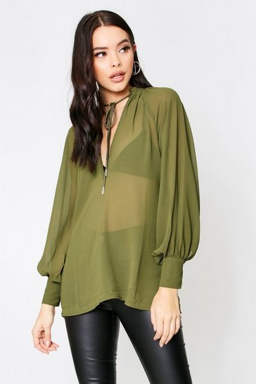 Womens Khaki Sheer Plunge Front Tie Neck Blouse