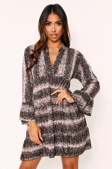 Womens Brown Snake Print Frill Dress