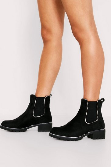 Womens Black Suede Stud Detail Chelsea Boot