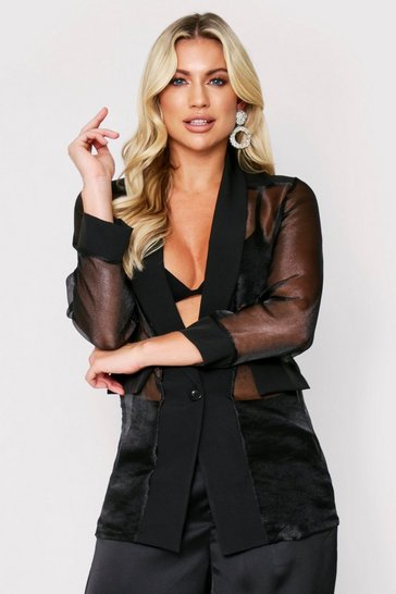 Womens Black Organza Blazer