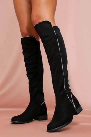 Womens Black Mini Stud High Leg Boot