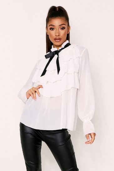 Womens Cream Pussy Bow Blouse