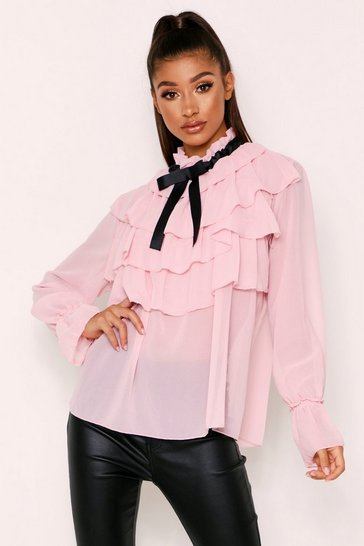 Womens Pink Pussy Bow Blouse