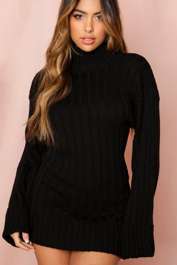 Black Roll Neck Knit Dress