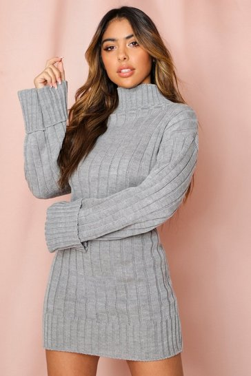 Grey Roll Neck Knit Dress