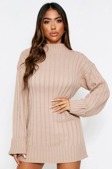 Womens Stone Roll Neck Knit Dress