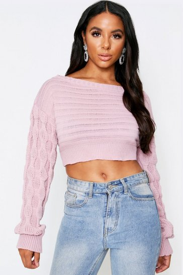 Womens Blush Off The Shoulder Bubble Sleeve Jumper