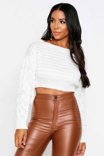 Cream Off The Shoulder Bubble Sleeve Jumper