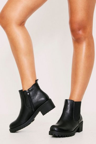 Womens Black PU Basic Chelsea Boot