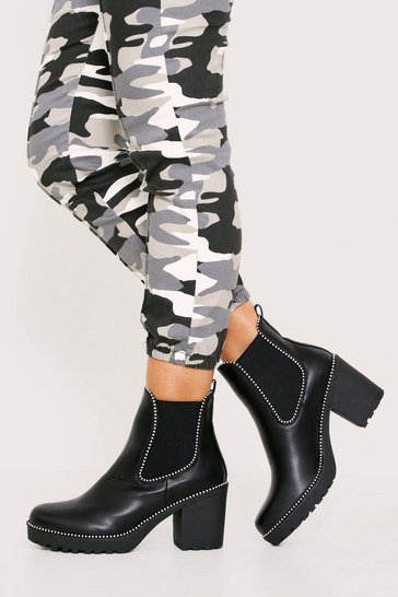 Womens Black Mini Stud Chunky Heel Boot