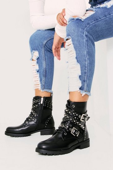Womens Black PU Multi Stud/Strap Biker Boot