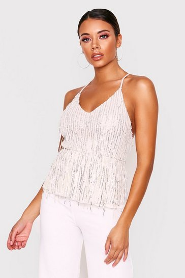 Womens Cream Sequin Strappy Cami Top