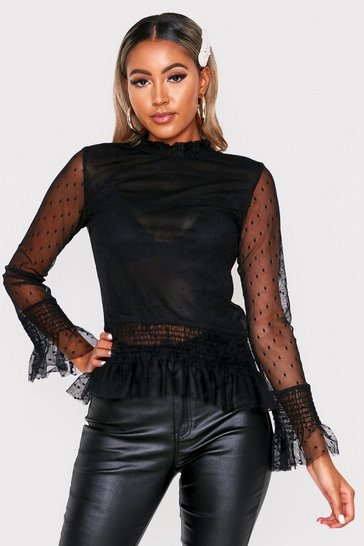 Womens Black Polka Dot Mesh High Neck Top