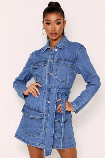 Womens Blue Pocket Front Belted Longline Jacket