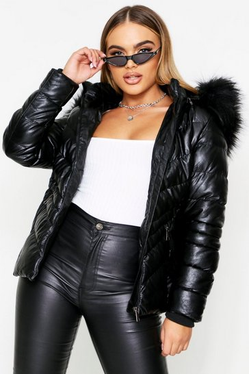 Womens Black PU Belted Faux Fur Hooded Jacket