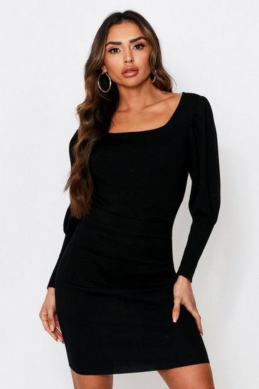 Black Square Neck Jumper & Skirt Knitted Co-Ord
