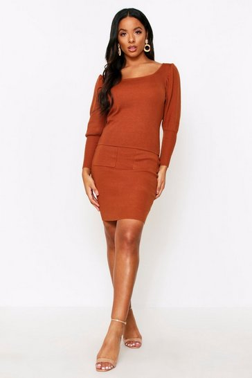Rust Square Neck Jumper & Skirt Knitted Co-Ord