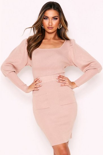 Stone Square Neck Jumper & Skirt Knitted Co-Ord