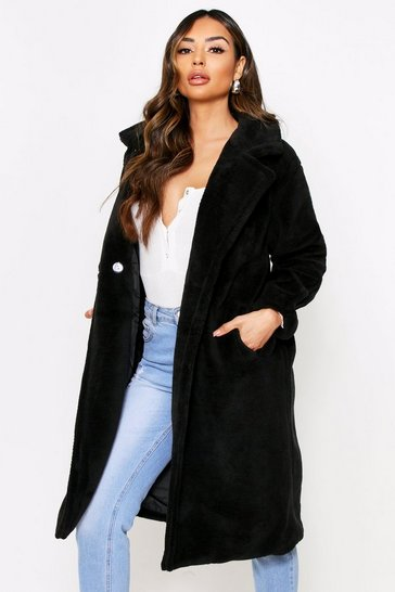 Black Button Front Oversized Teddy Fur Coat