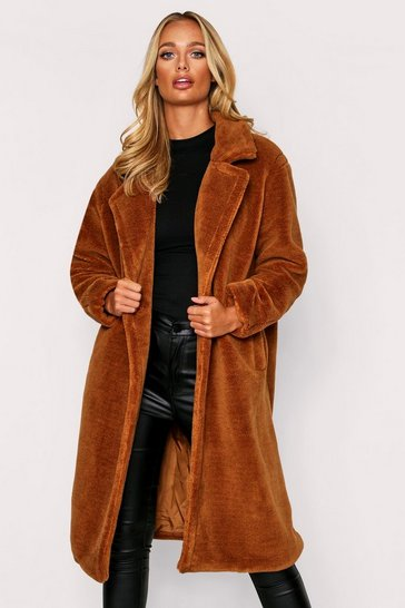 Womens Camel Button Front Oversized Teddy Fur Coat