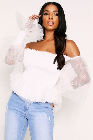 Womens White Organza Polka Dot Off the Shoulder Top