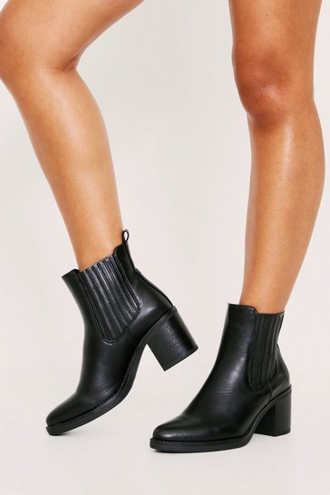Womens Black Heeled PU Chelsea Boot