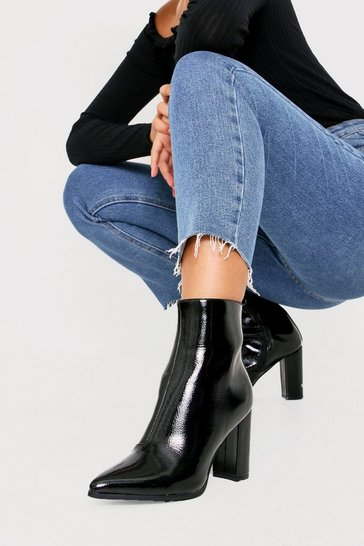 Womens Black Heeled Patent Boot