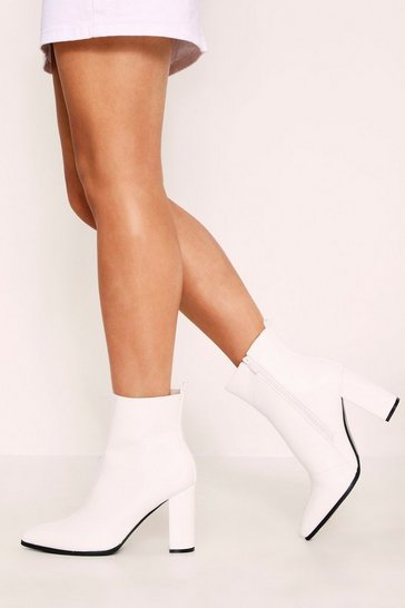 Womens White Heeled Patent Boot
