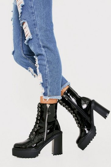 Womens Black Patent Heeled Zip Biker