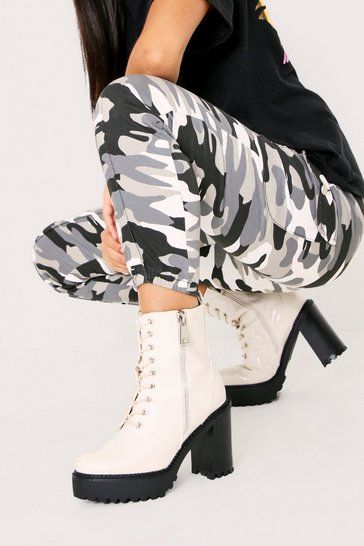 Womens White Patent Heeled Zip Biker