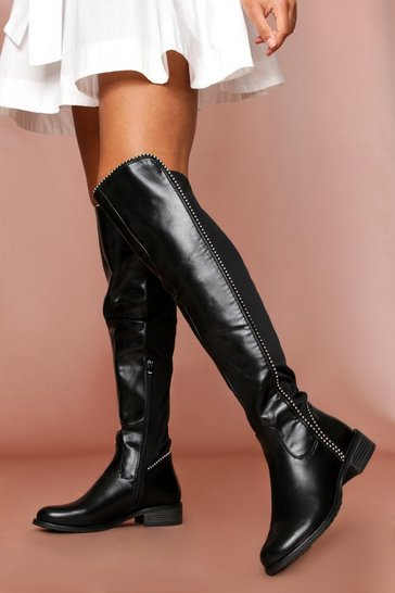 Womens Black Mini Stud High Leg PU Boot