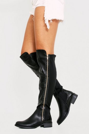 Womens Black Croc Pannel High Leg Boot
