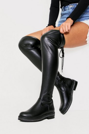 Womens Black Diamente Tied Over The Knee PU Boot