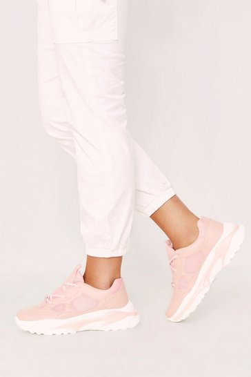 Nude Faux leather Chunky trainers