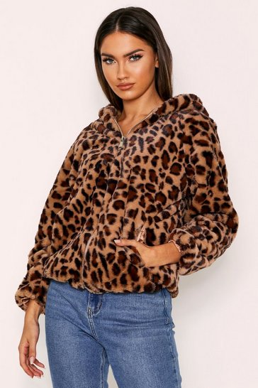 Womens Brown Faux Fur Leopard Hooded Coat