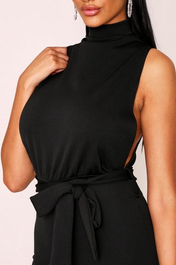 Womens Black High Neck Belted Jumpsuit