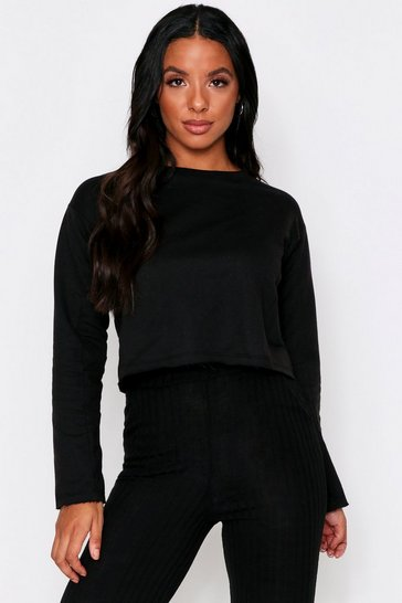 Womens Black Raw Edge Cropped Sweatshirt