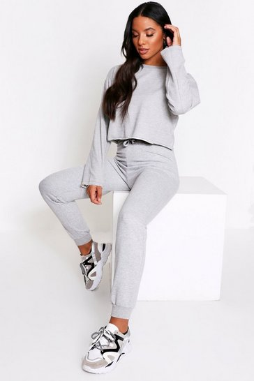 Womens Grey Raw Edge Cropped Sweatshirt