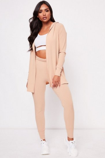 Womens Camel Wrap Back Cardigan Co-ord
