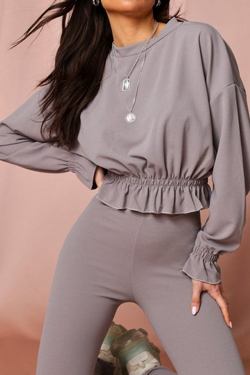 Grey Frill Hem Lounge Set